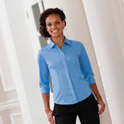 Women's ¾ sleeve polycotton easycare fitted poplin shirt